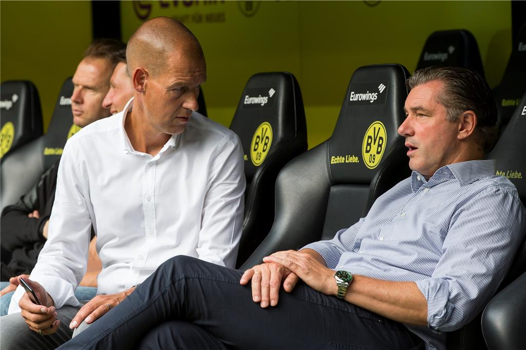 Dortmunds Marketing-Chef Carsten Cramer (l.) und BVB-Sportdirektor Michael Zorc